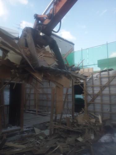 発寒5条の解体工事現場の様子